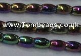 CHE812 15.5 inches 5*8mm rice plated hematite beads wholesale