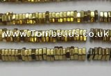 CHE827 15.5 inches 1*2mm hexagon plated hematite beads wholesale