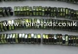 CHE836 15.5 inches 1*3mm hexagon plated hematite beads wholesale