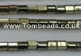 CHE898 15.5 inches 3*3mm faceted tube plated hematite beads wholesale