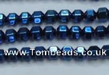 CHE987 15.5 inches 4*4mm plated hematite beads wholesale