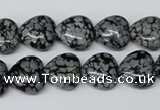 CHG37 15.5 inches 12*12mm heart snowflake obsidian beads wholesale