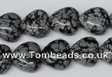 CHG50 15.5 inches 14*14mm heart snowflake obsidian beads wholesale