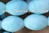 CHM308 15.5 inches 10*14mm rice blue hemimorphite gemstone beads