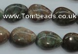 CJA03 15.5 inches 13*18mm teardrop green jasper beads wholesale