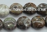 CJA06 15.5 inches 16mm coin green jasper beads wholesale
