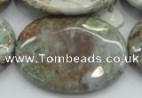CJA09 15.5 inches 30*40mm oval green jasper beads wholesale