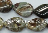 CJA33 15.5 inches 18*25mm twisted flat teardrop green jasper beads