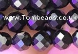 CJB200 15.5 inches 5mm faceted round jet beads wholesale