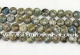 CKJ486 15.5 inches 10mm flat round natural k2 jasper beads