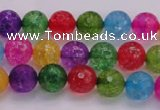 CKQ350 15.5 inches 6mm faceted round dyed crackle quartz beads