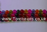CKQ394 15.5 inches 12mm round dyed crackle quartz beads