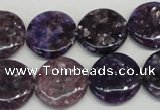 CKU37 15.5 inches 18mm flat round purple kunzite beads wholesale
