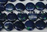 CLA411 15.5 inches 12mm flat round synthetic lapis lazuli beads