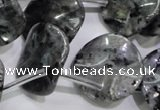CLB326 Top-drilled 20mm wavy coin black labradorite beads