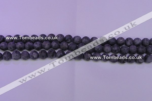 CLB371 15.5 inches 6mm round matte black labradorite beads