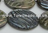 CLB670 15.5 inches 25*35mm carved oval AB-color labradorite beads