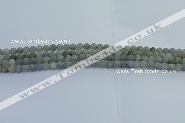 CLB871 15.5 inches 4mm round matte labradorite gemstone beads