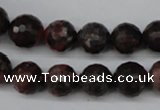 CLD104 15.5 inches 12mm faceted round leopard skin jasper beads