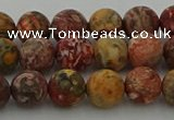 CLD212 15.5 inches 8mm round matte leopard skin jasper beads