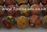 CLD214 15.5 inches 12mm round matte leopard skin jasper beads