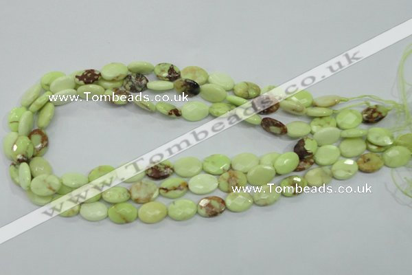 CLE54 15.5 inches 10*14mm faceted oval lemon turquoise beads