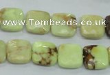 CLE60 15.5 inches 12*12mm faceted square lemon turquoise beads