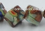 CLG548 16 inches 10*10mm cube goldstone & lampwork beads