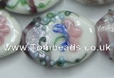 CLG801 15.5 inches 22*28mm oval lampwork glass beads wholesale