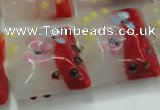 CLG810 15.5 inches 20*20mm square lampwork glass beads wholesale