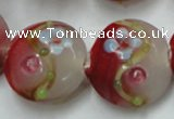 CLG817 15.5 inches 20mm flat round lampwork glass beads wholesale
