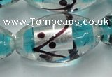 CLG857 15.5 inches 16*28mm rice lampwork glass beads wholesale