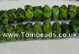 CLJ245 15.5 inches 6*11mm faceted nuggets dyed sesame jasper beads