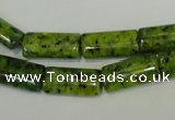 CLJ300 15.5 inches 8*16mm flat tube dyed sesame jasper beads wholesale