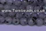 CLJ421 15.5 inches 6mm faceted round sesame jasper beads