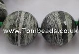 CLS112 15.5 inches 25mm faceted round large green silver line jasper beads