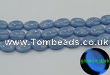 CLU144 15.5 inches 15*20mm oval blue luminous stone beads