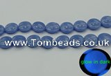 CLU175 15.5 inches 18mm flat round blue luminous stone beads