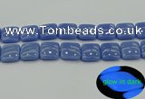 CLU196 15.5 inches 20*20mm square blue luminous stone beads