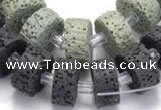 CLV05 14 inches 7*15mm flat round natural lava beads wholesale