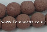 CLV364 15.5 inches 18mm ball dyed lava beads wholesale