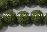 CLV464 15.5 inches 16mm round dyed green lava beads wholesale