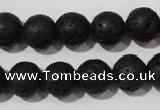 CLV486 15.5 inches 12mm round black lava beads wholesale