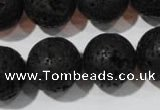CLV489 15.5 inches 18mm round black lava beads wholesale