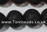 CLV490 15.5 inches 20mm round black lava beads wholesale