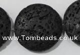 CLV502 15.5 inches 30mm flat round black lava beads wholesale