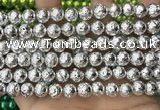CLV531 15.5 inches 6mm round plated lava beads wholesale