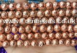 CLV532 15.5 inches 6mm round plated lava beads wholesale