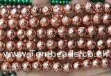 CLV533 15.5 inches 6mm round plated lava beads wholesale