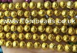 CLV534 15.5 inches 6mm round plated lava beads wholesale